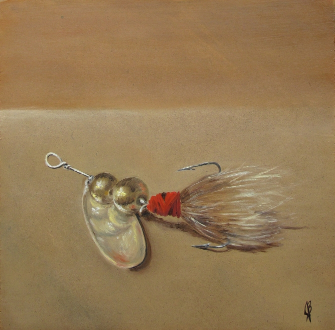 Oil painting of an old fishing lure. Art work on masonite board by Joyce Brandon.  Alla Prima still life.