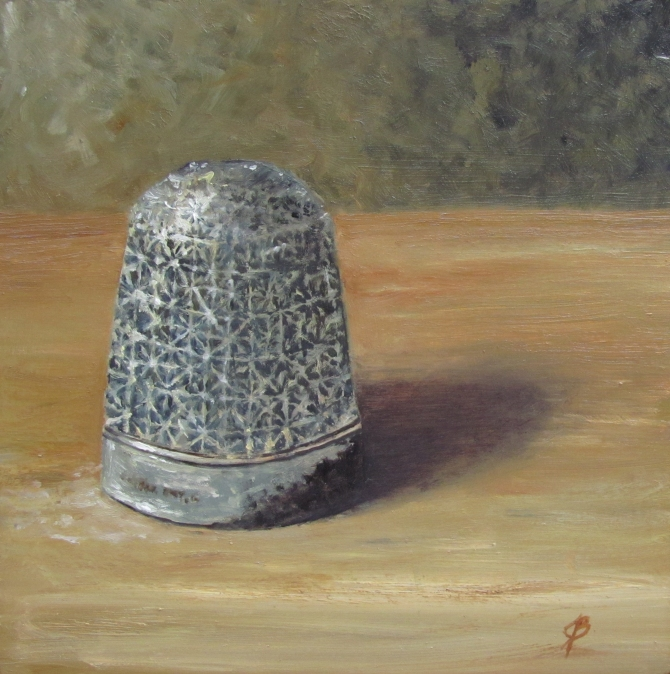 6x6 Still Life painting oil on board by Joyce Brandon.  A close look at a little thimble which belonged to my Great-Grandmother, Sara.  It is a little more carefully designed than the average thimble with tiny starbursts used to catch the needle.  I love to imagine her using it while working on a quilt or mending a work-worn item of clothing.
