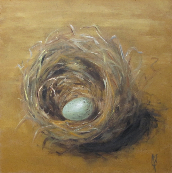 Nest with Egg oil painting by Joyce Brandon Still life on 6x6 hardboard