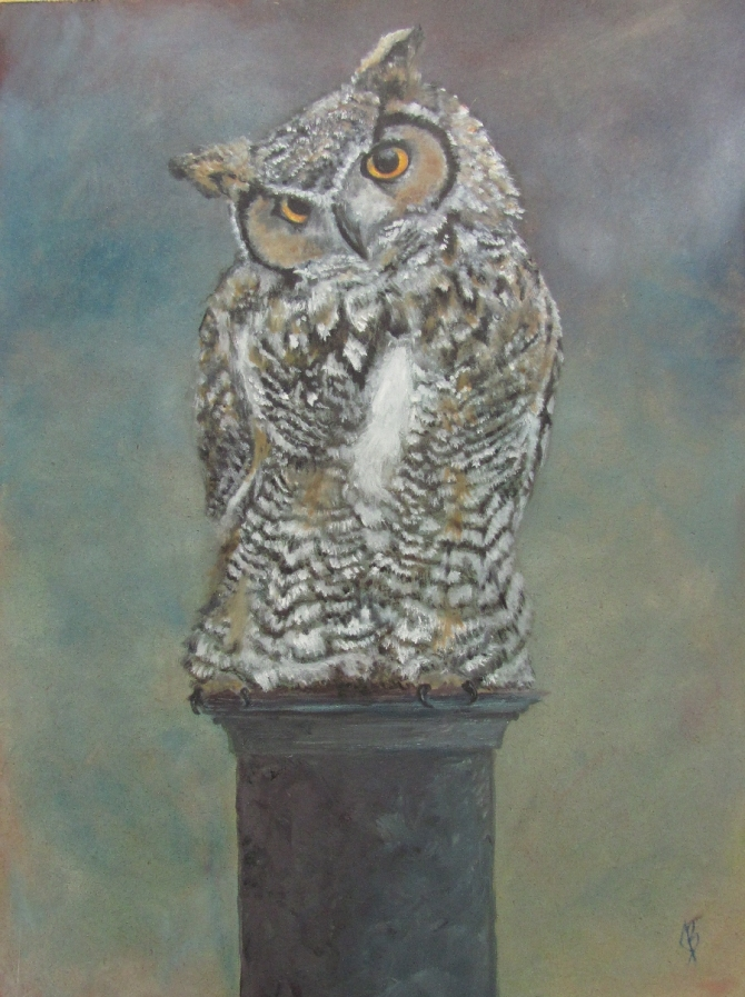 A painting of a horned owl pearched on a pillar before a dusky sky.