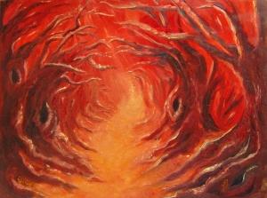 Fiery woodland path - oil painting on hardboard panel by Joyce Brandon