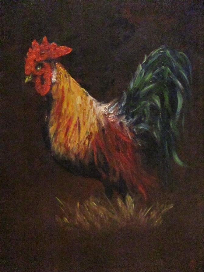 Portrait of a golden phoenix rooster chicken.  Avian art by Joyce Brandon