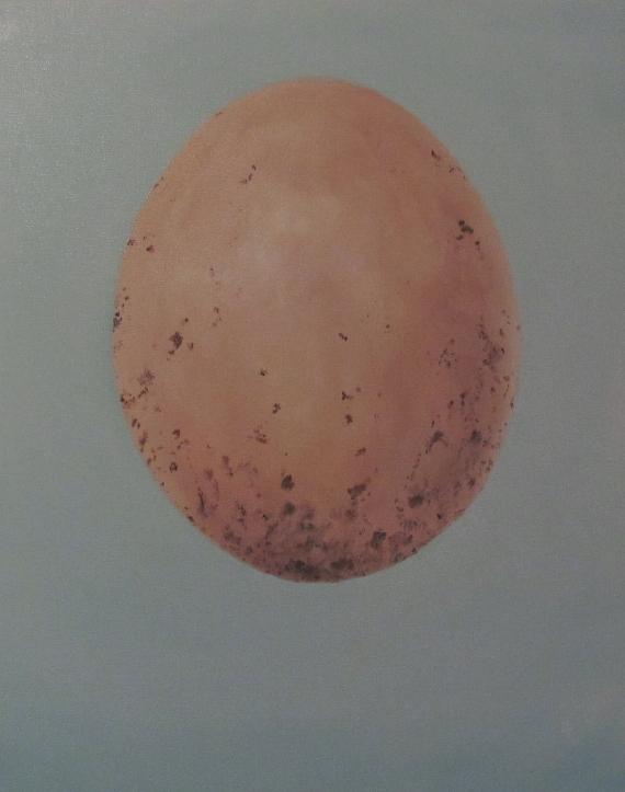 """Oils on canvas. 16x20"""" painting by the artist Joyce Brandon wren sparrow bird's egg"""