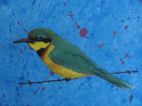 """Harriala"" The Indian Green Bee Eater.  A 9x12 inch portrait in oils on stretched canvas.  This piece is currently available in my shop!"