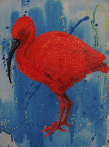 Scarlet Ibis, South American wading bird, a portrait in oils by Joyce Brandon.