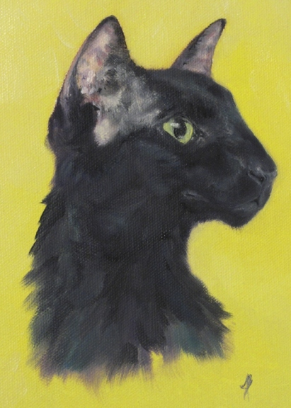 Oriental Shorthair - black cat portrait.  Oil painting on stretched canvas by Joyce Brandon.