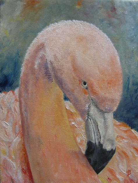 Painting of a flamingo bird in oil on canvas by artist joyce brandon