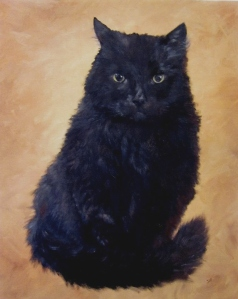 Painting, portrait, black cat, oils on canvas, joyce brandon