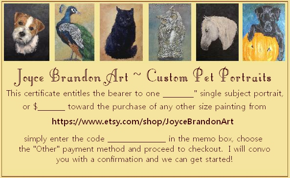 joyce brandon art pet portrait gift certificate