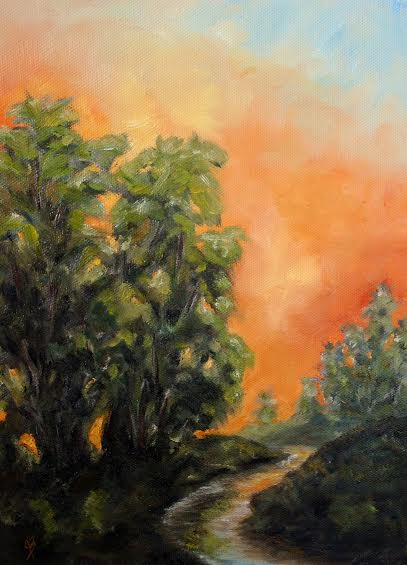 Summer Sunset - An impressionist landscape in oils on canvas by Joyce Brandon