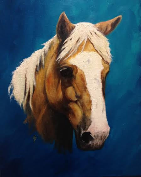 completed equine portrait of a palomino quarter horse by joyce brandon