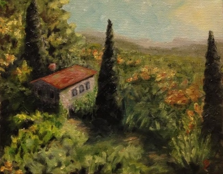 A view from the South of France - 8x10 inch oil on stretched canvas by Joyce Brandon