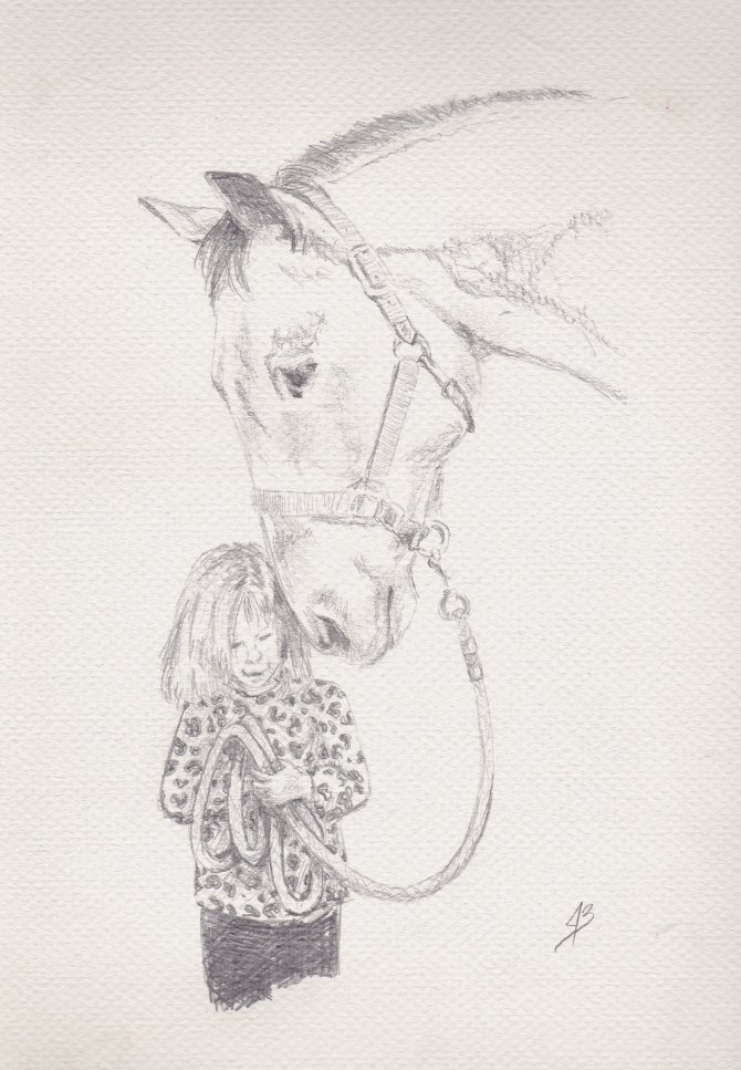Preliminary sketch of a girl with her horse.