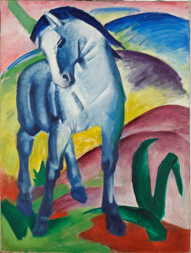 Blue Horse I (1910) is one of Marc's most famous works.  Here again we see man (in this case, likely Marc himself) represented by the strong figure of the horse and emphasized by the masculine blue.