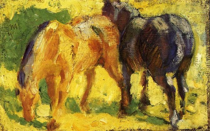 A painting of two horses by Franz Marc