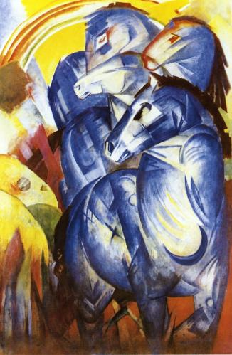 Franz Marc the-tower-of-blue-horses-1913