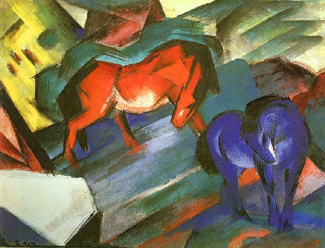 "Franz Marc's ""Red and Blue Horse"", painted in 1912, beautifully illustrates his symbolism in color.  The masculine blue horse in the foreground, balanced by the feminine red horse.  He is moving steadily away from the representational and toward the abstract."